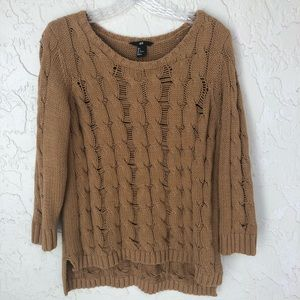 H&M Camel Cable Knit  Sweater Size Large